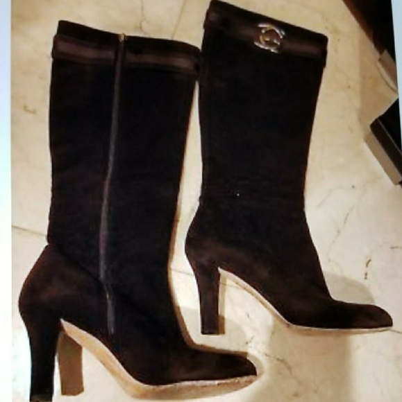 9f0cb779e7 Gucci Shoes | Gg Logo Brown Suede High Heel Boots Size 8 | Poshmark